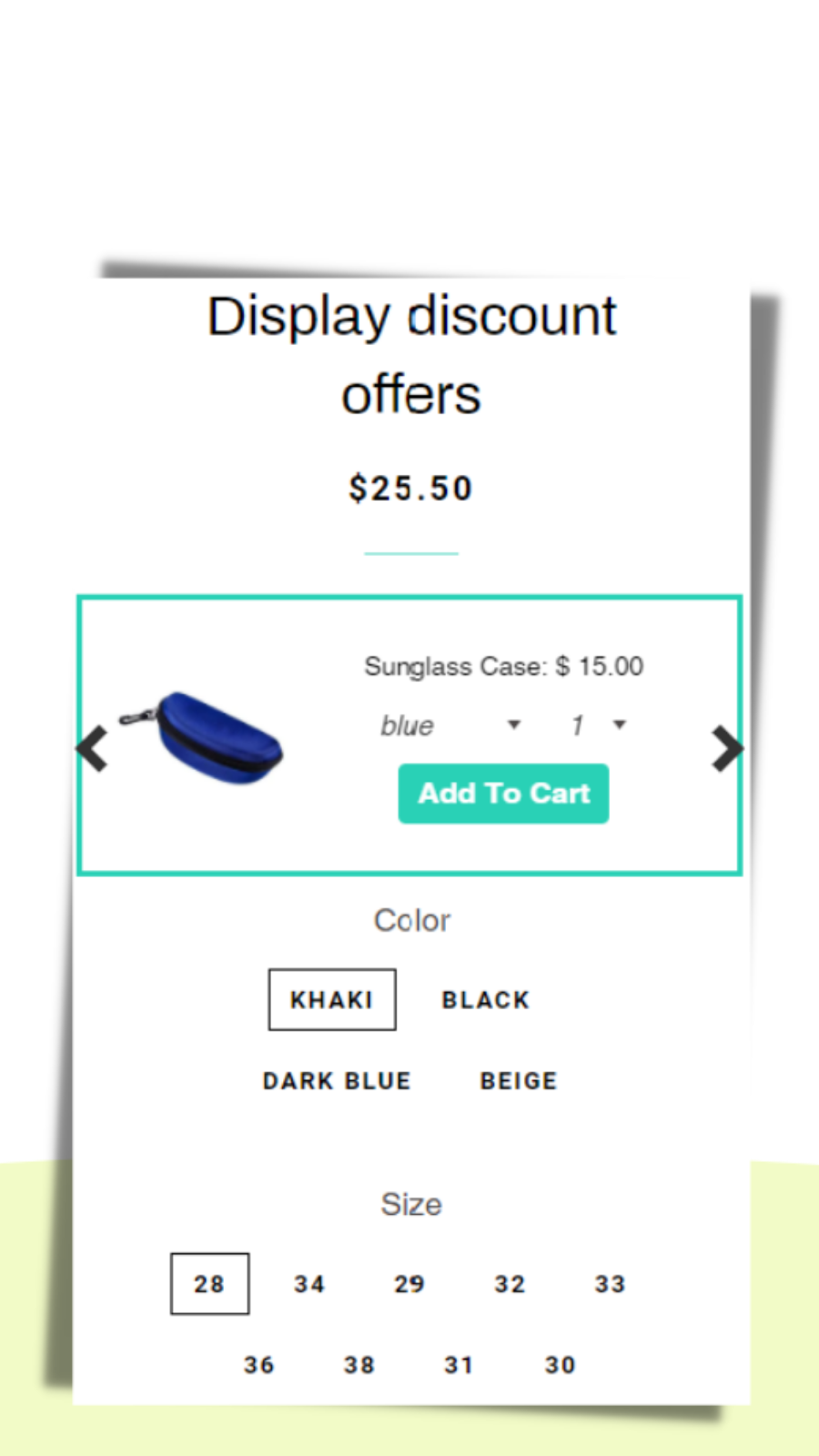 Display discount offers with customized choice sets