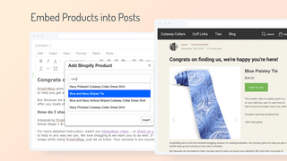 Embed Products into Blog Posts