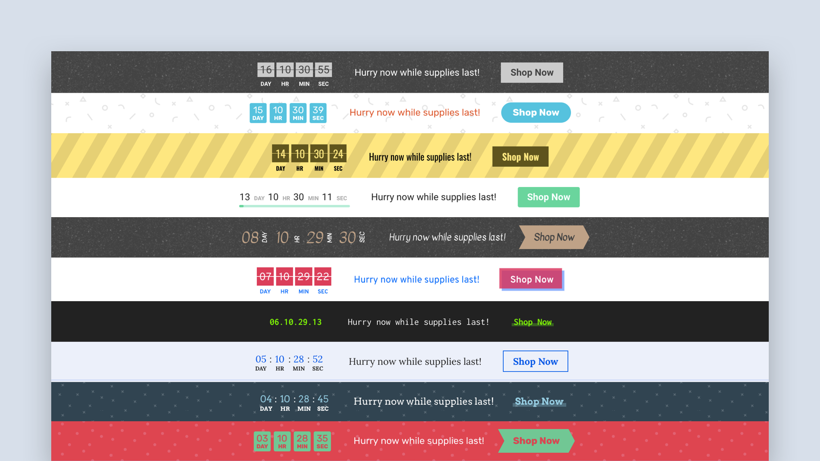 Choose from an assortment of beautifully designed timer themes b