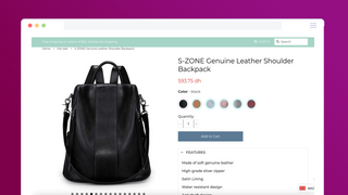 how swatch color look like in product page