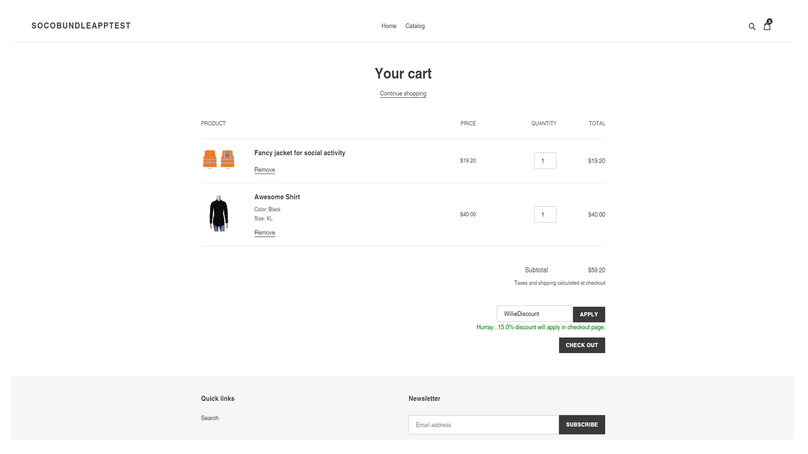 Cart page with discount