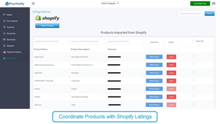 Coordinate with your Shopify Listings