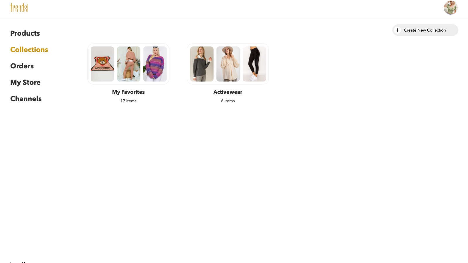 create and manage your collection on Trendsi
