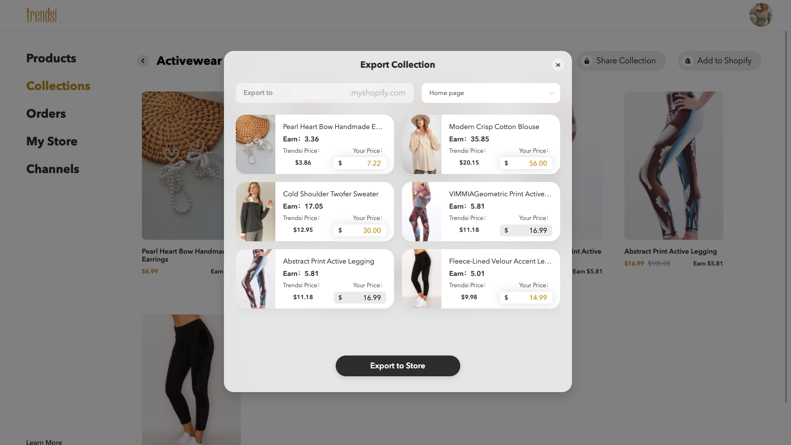 add products to shopify store from Trendsi