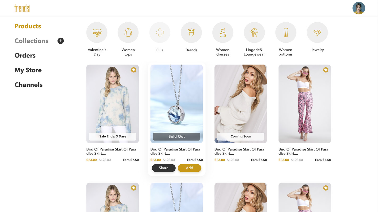 Use Trendsi to find US fashion dropshipping products