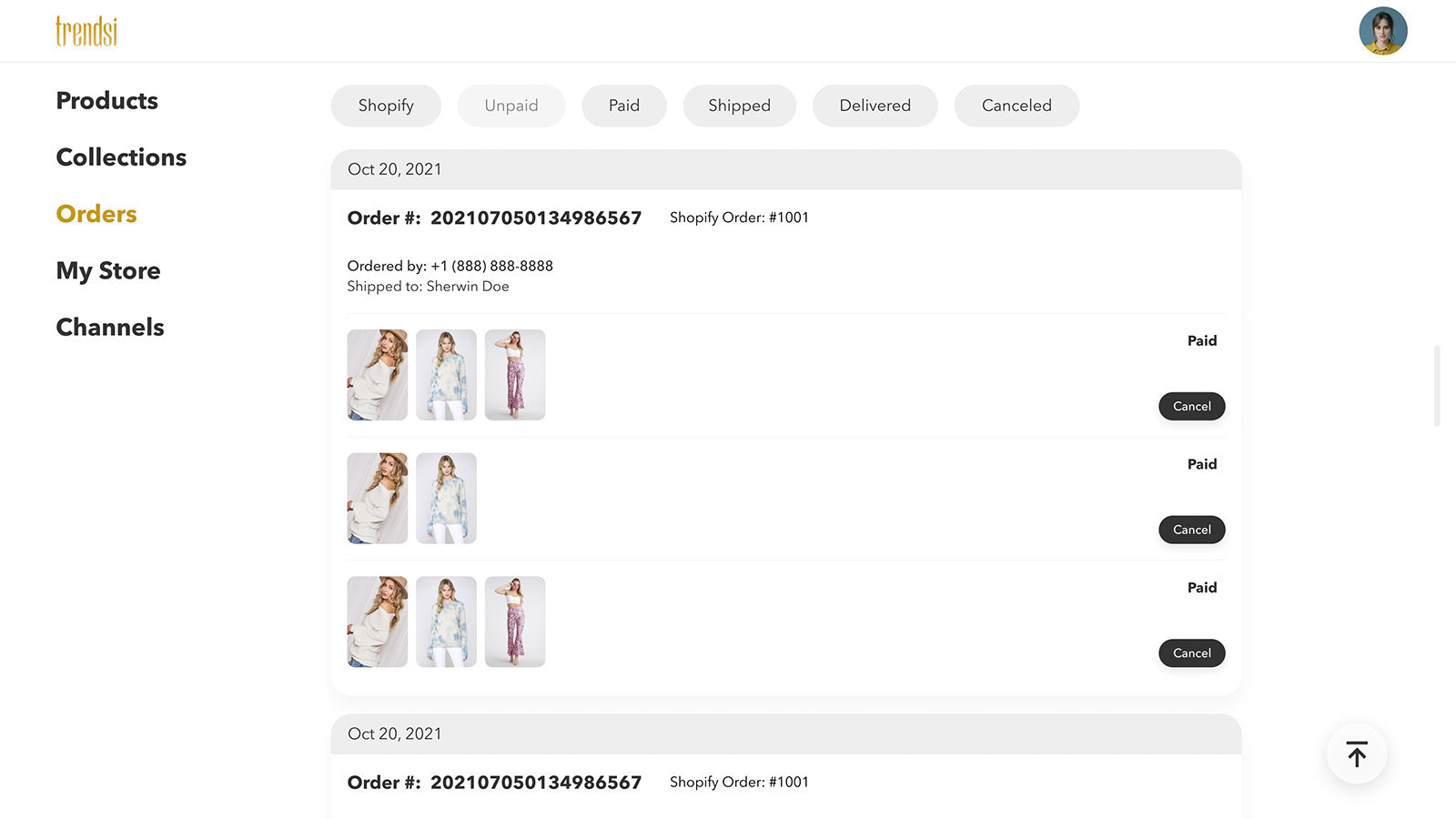 Manage orders from different channels on Trendsi