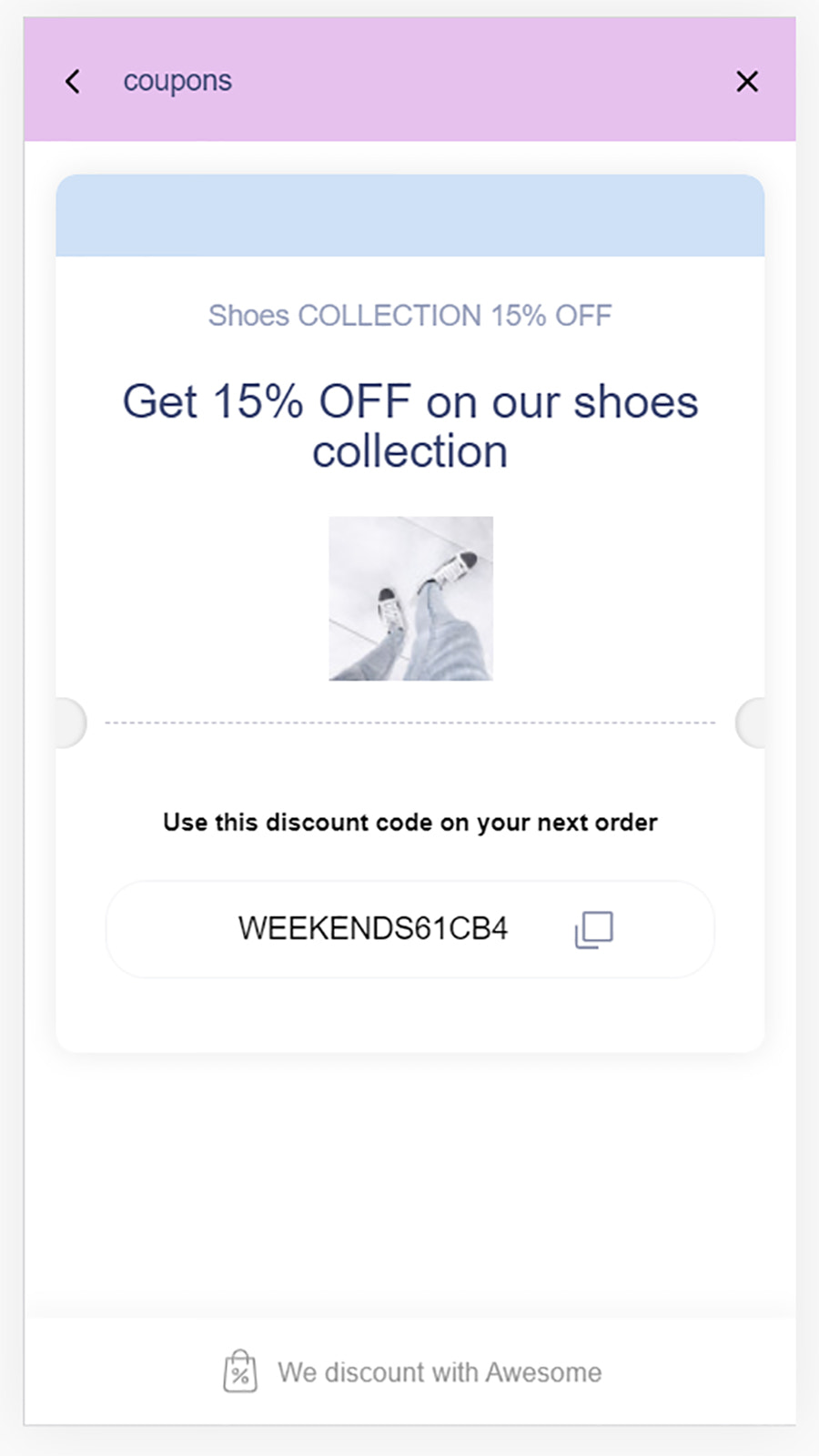mobile store front coupon page demo