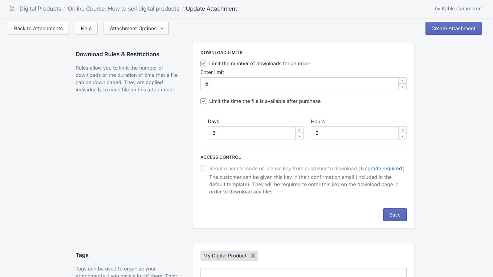 Digital Products Settings: Download Limits