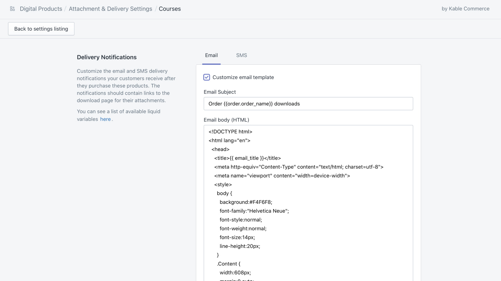 Digital Products Settings: Custom Email/SMS