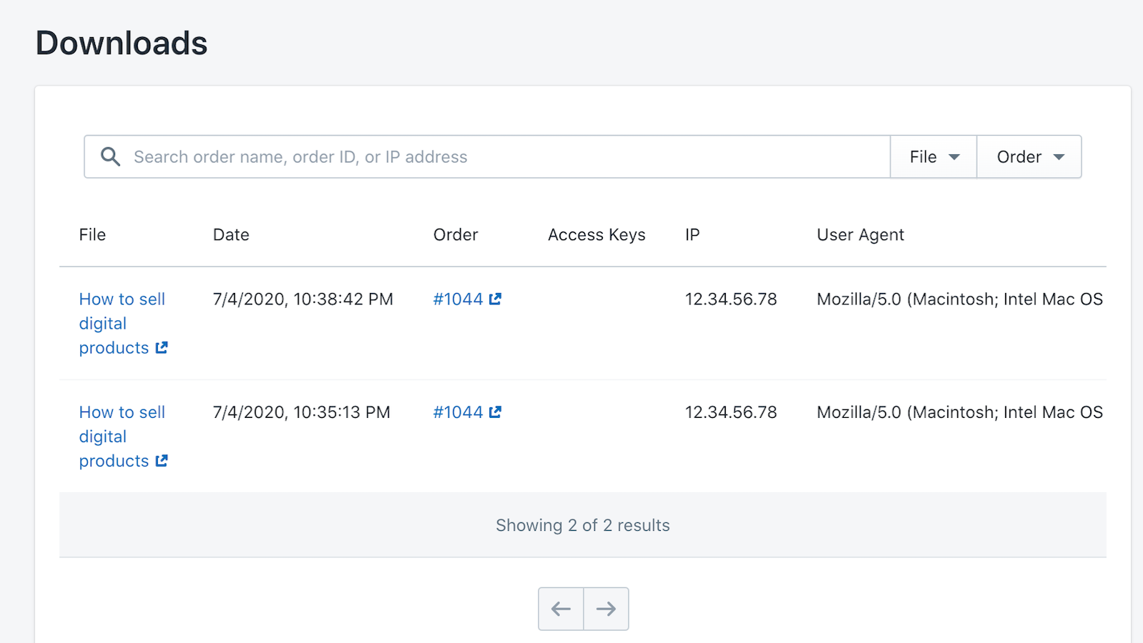 Order and Download Activity Reports