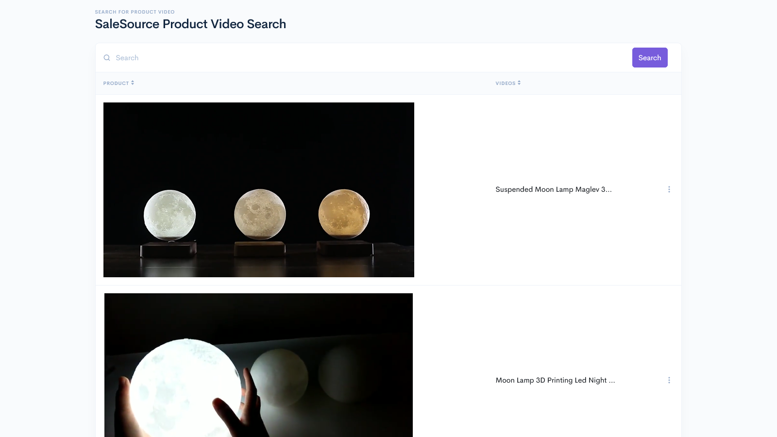 SaleSource Product Video Database