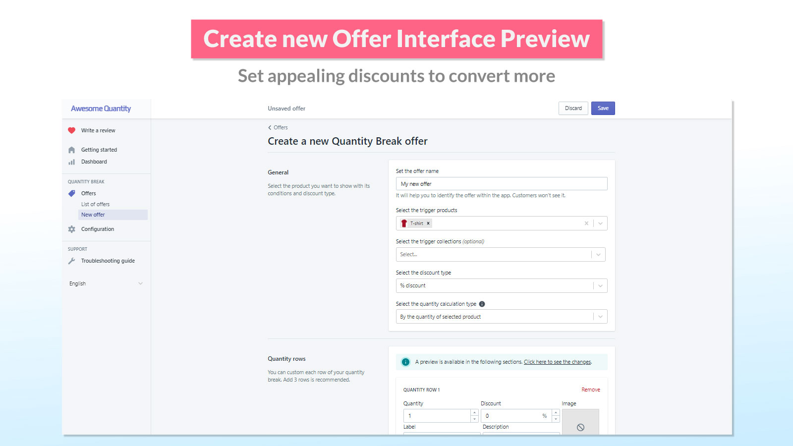 Create new offer interface preview