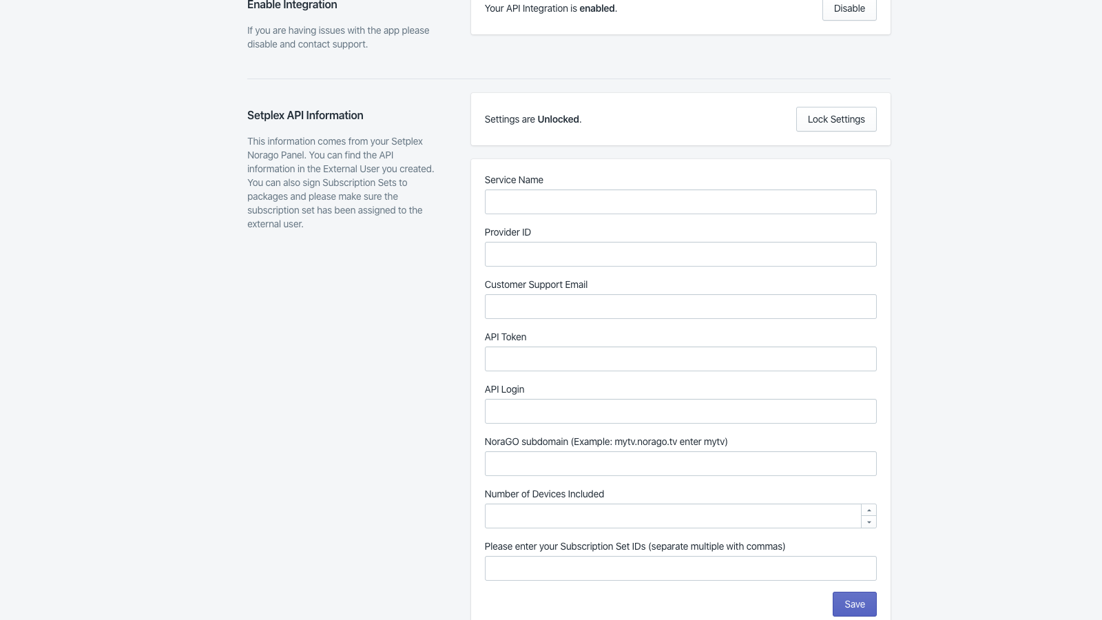 Settings & Configuration Page