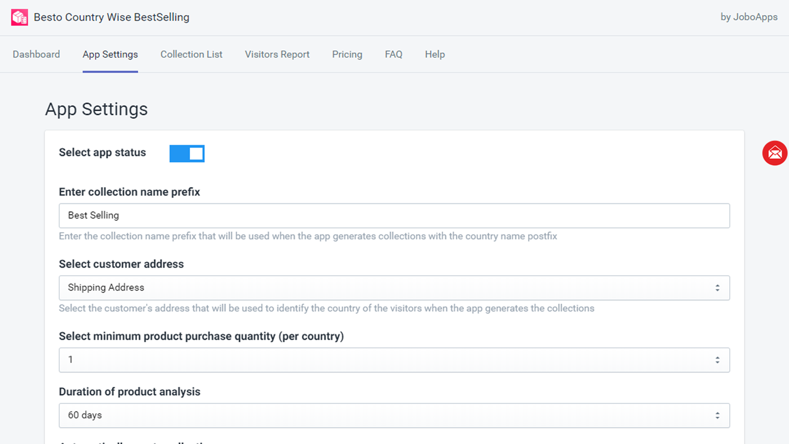 besto country wise best sellers app setting page
