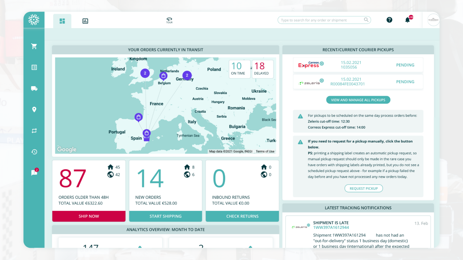 Outvio dashboard to get a quick overview of your fulfilment.