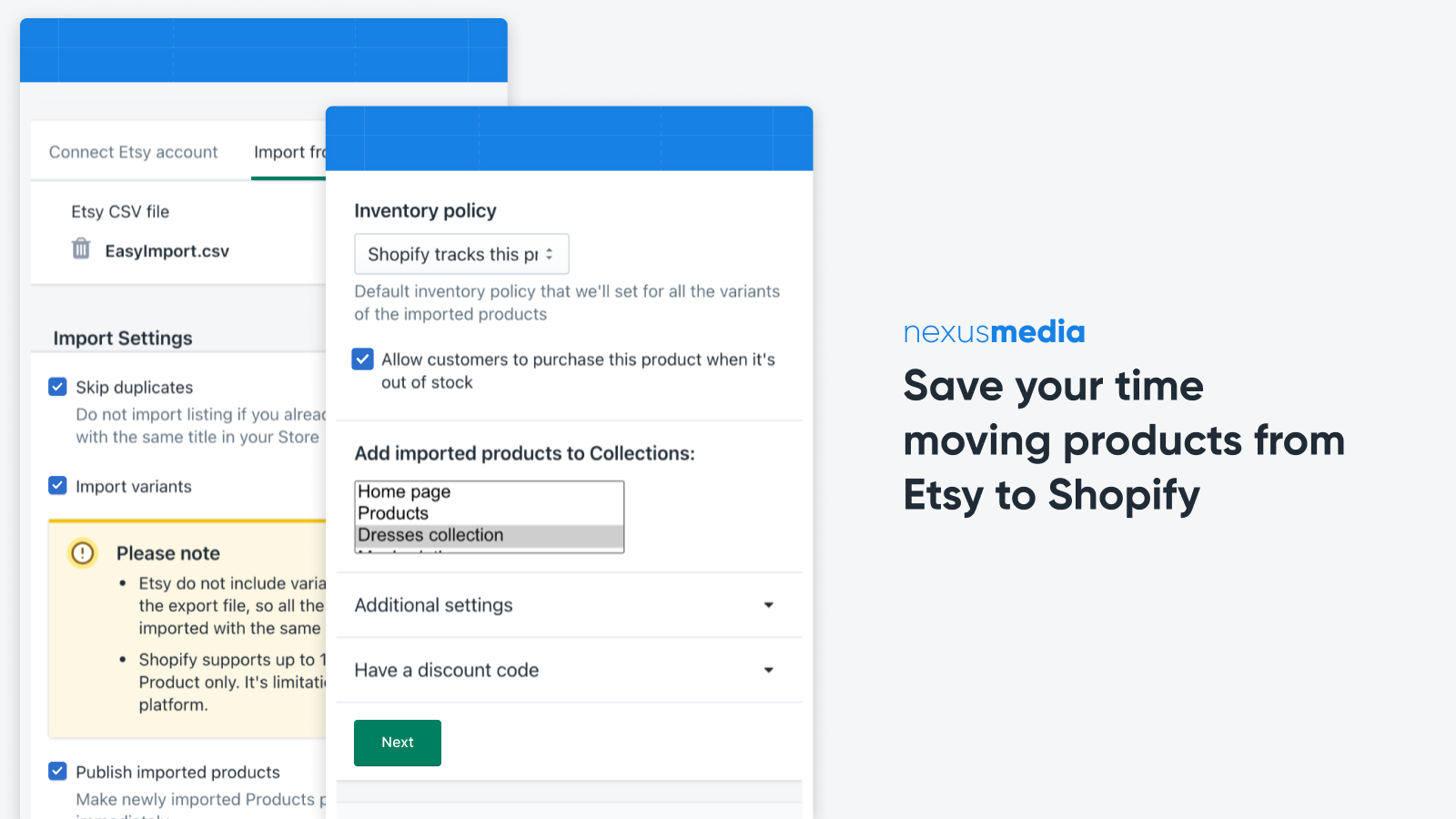 Save your time moving products from Etsy to Shopify