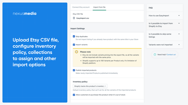 Upload Etsy CSV file and configure your import