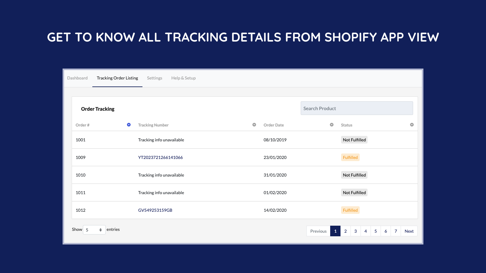 Get to know all tracking details from shopify app view