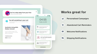 Push works best for welcome messages, abandoned cart   Sparq