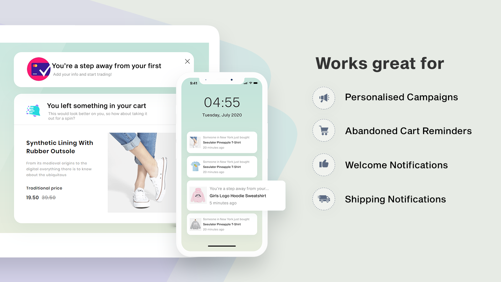 Push works best for welcome messages, abandoned cart | Sparq