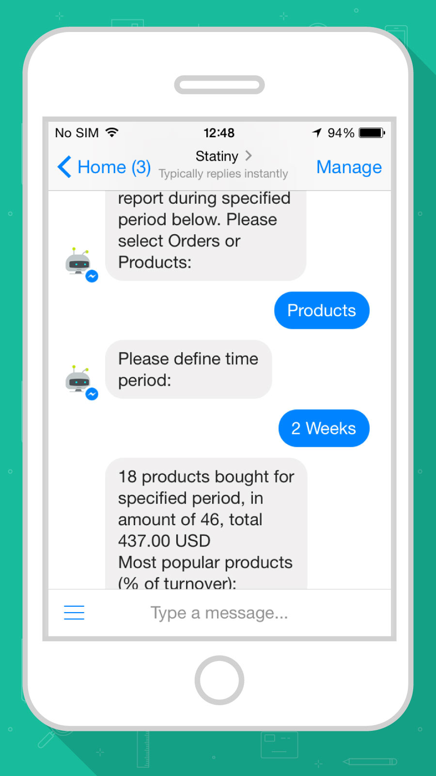Example of some store sales data in Facebook Messenger