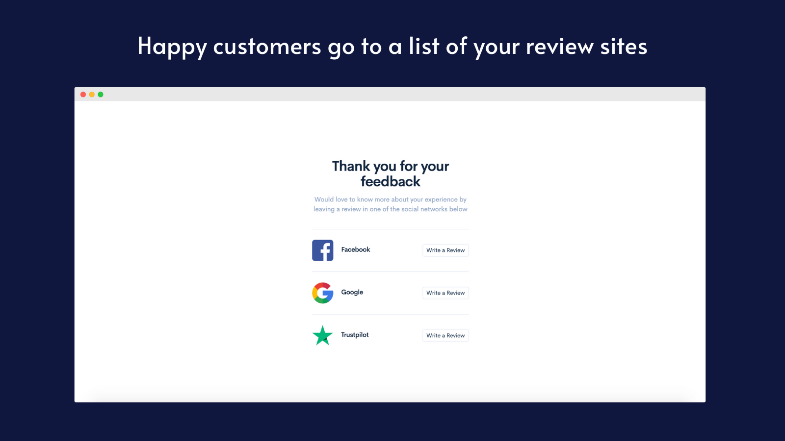 Happy customers are linked to your review sites