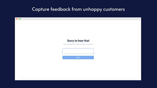 Capture feedback from unhappy customers