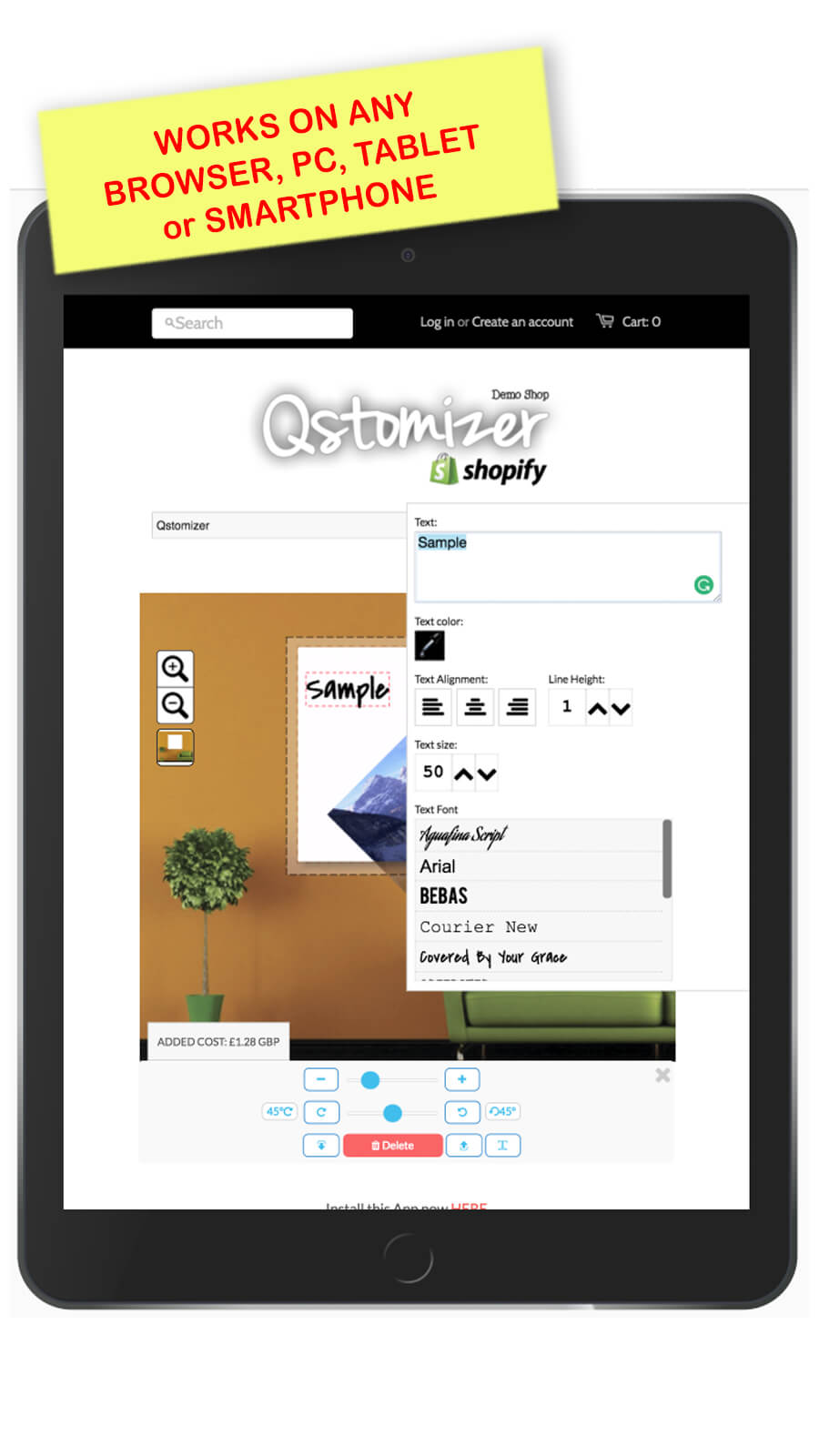 Qstomizer works on any PC, tablet or smartphone