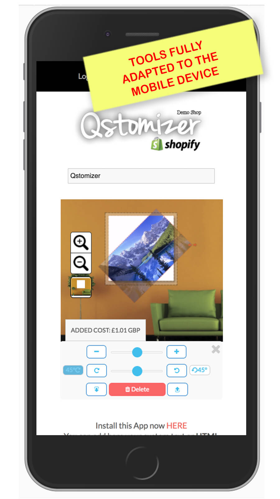 Qstomizer adapts its tools to the device screen