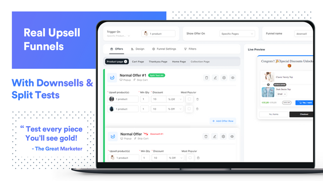 Upsells and Cross sell funnel with personalized recommendations