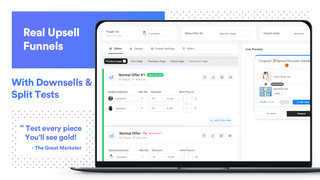 Real upsell funnel with downsells and split tests to help sales