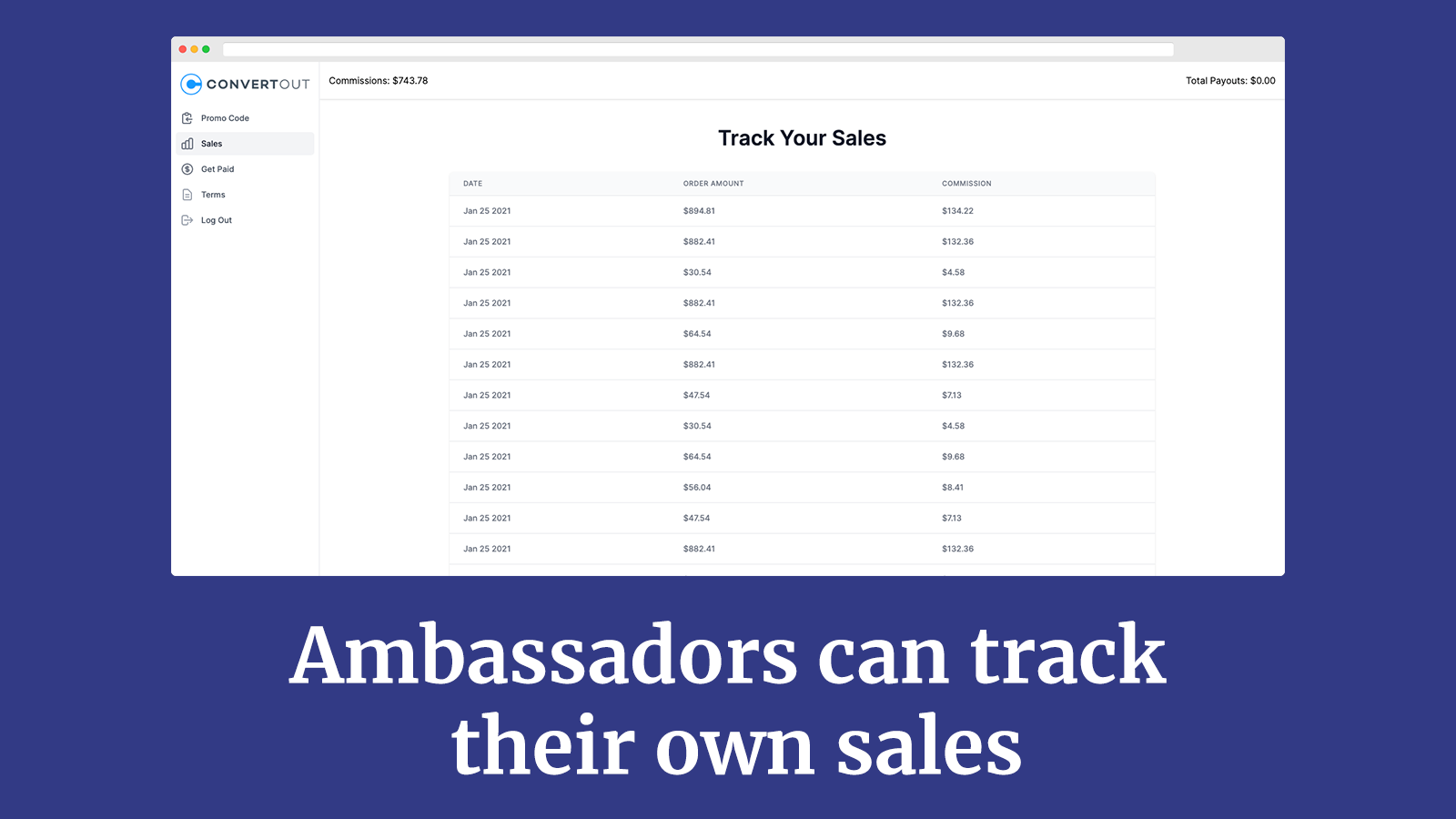 Ambassadors can track their own sales