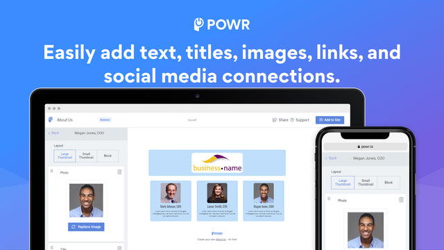 Add text, titles, images, links and social media accounts