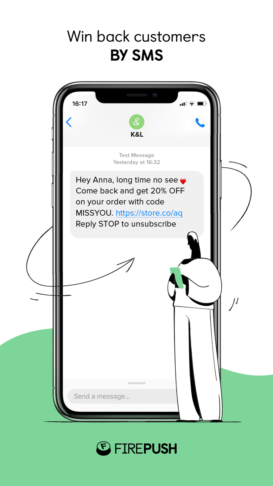 Win back customer SMS message for Shopify stores by Firepush