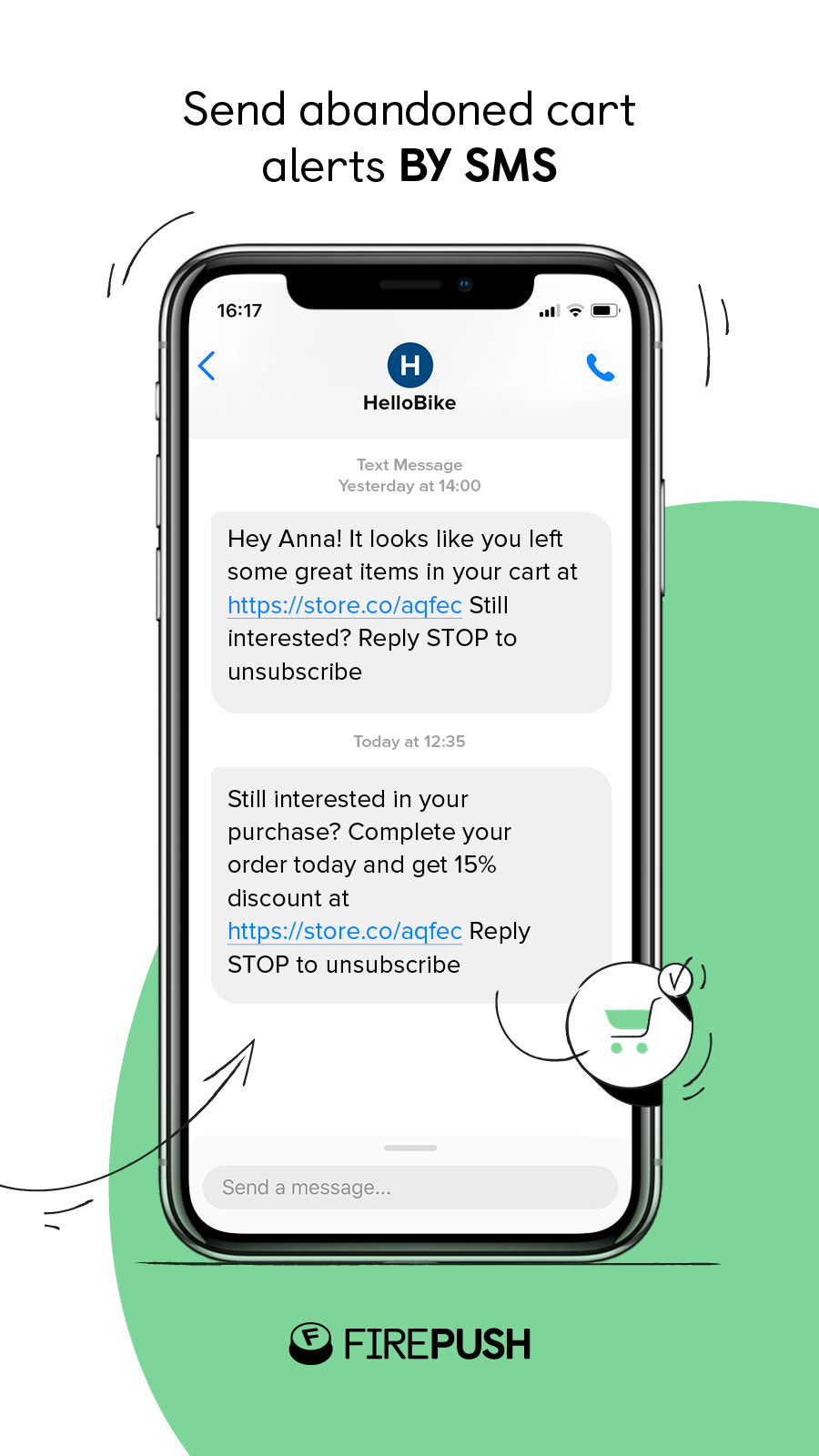 Abandoned cart recovery SMS for Shopify Plus stores by Firepush