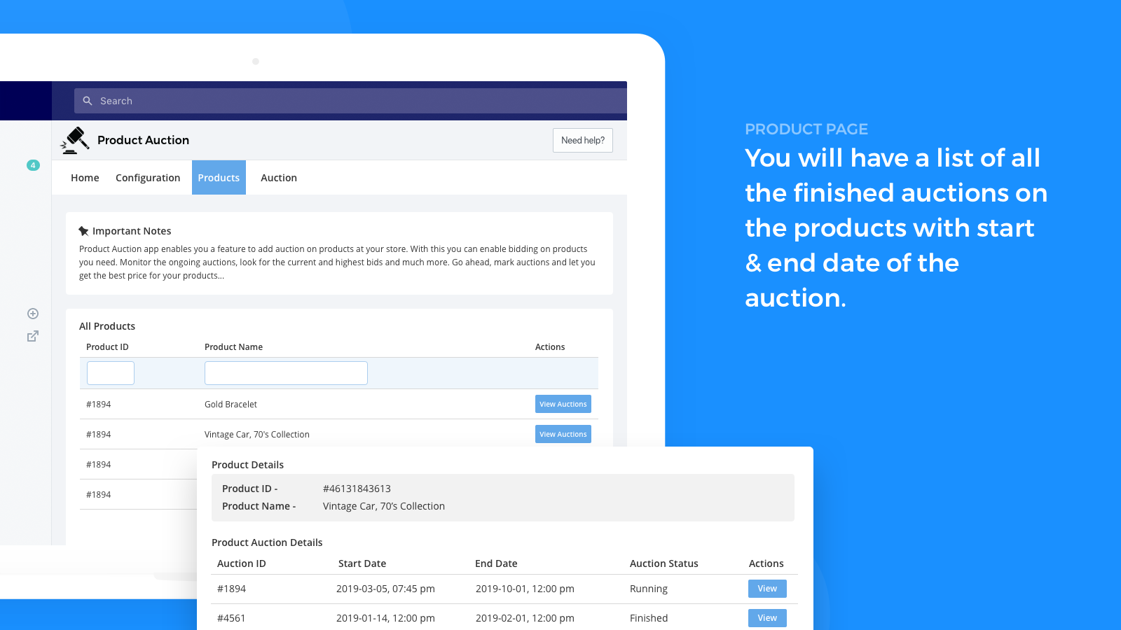auction product listing