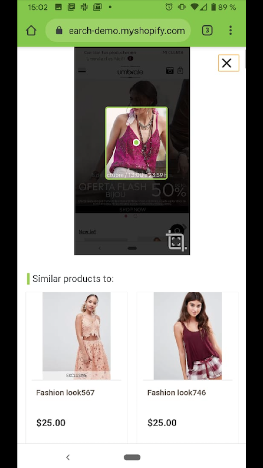 Search by image / Snap the look