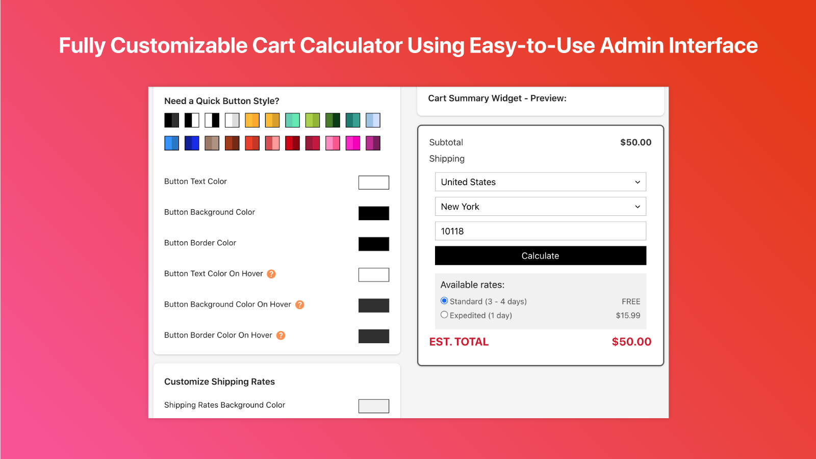 Customizable Cart Shipping Calculator with Easy-to-Use Admin