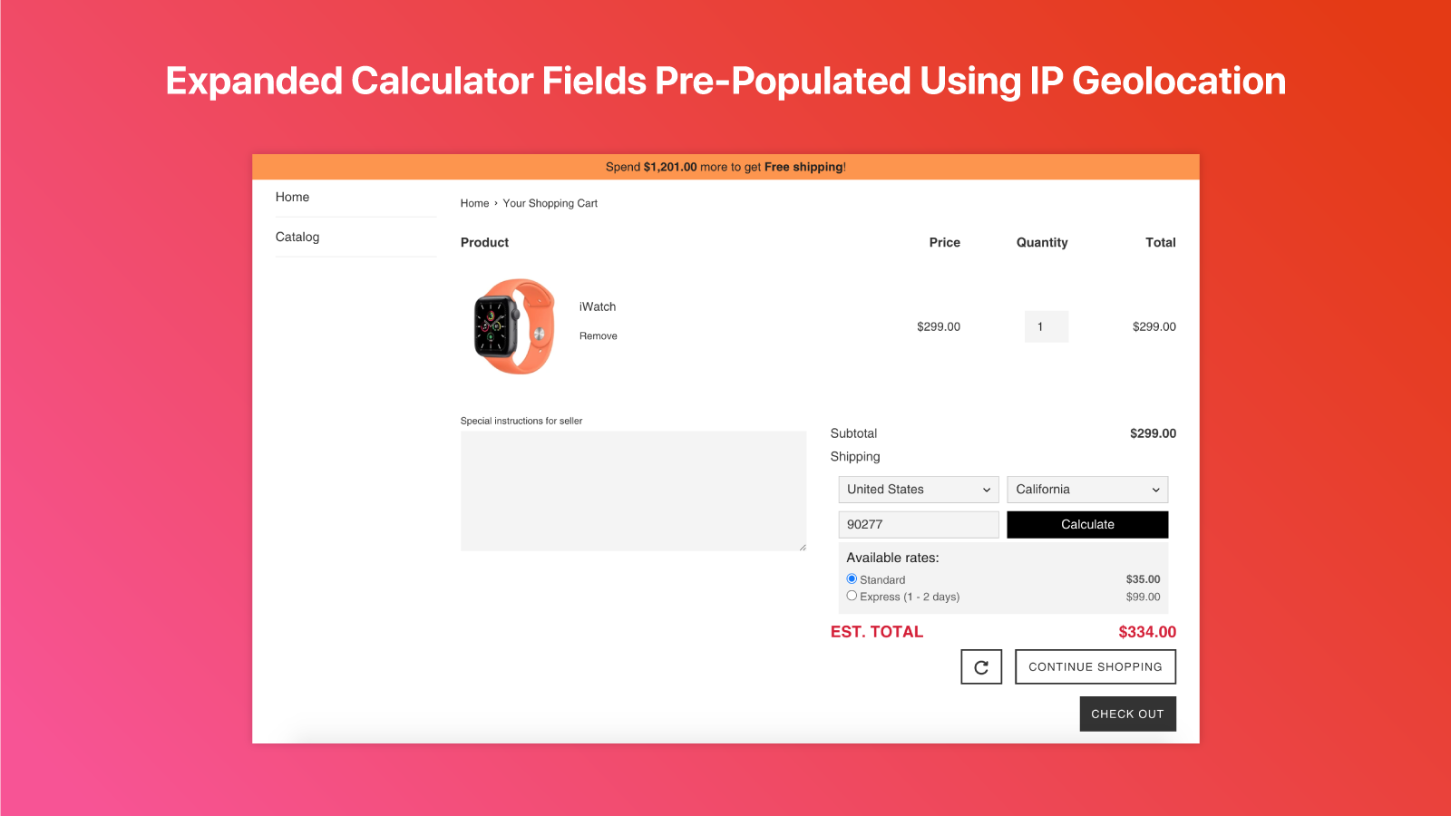 Calculate Shipping Rates In Cart Using Expanded Calculator