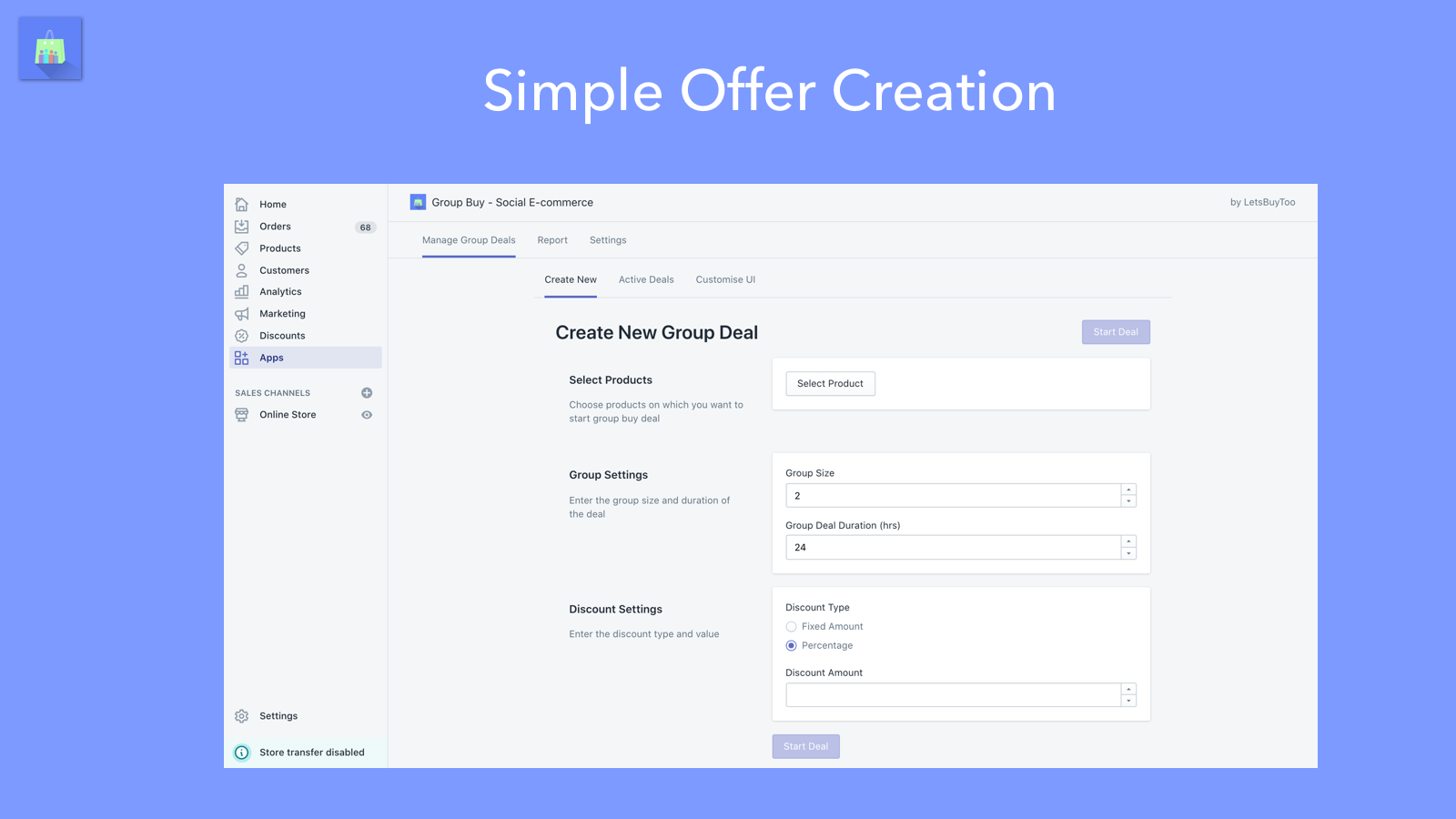 group buying merchant dashboard - create & manage offers