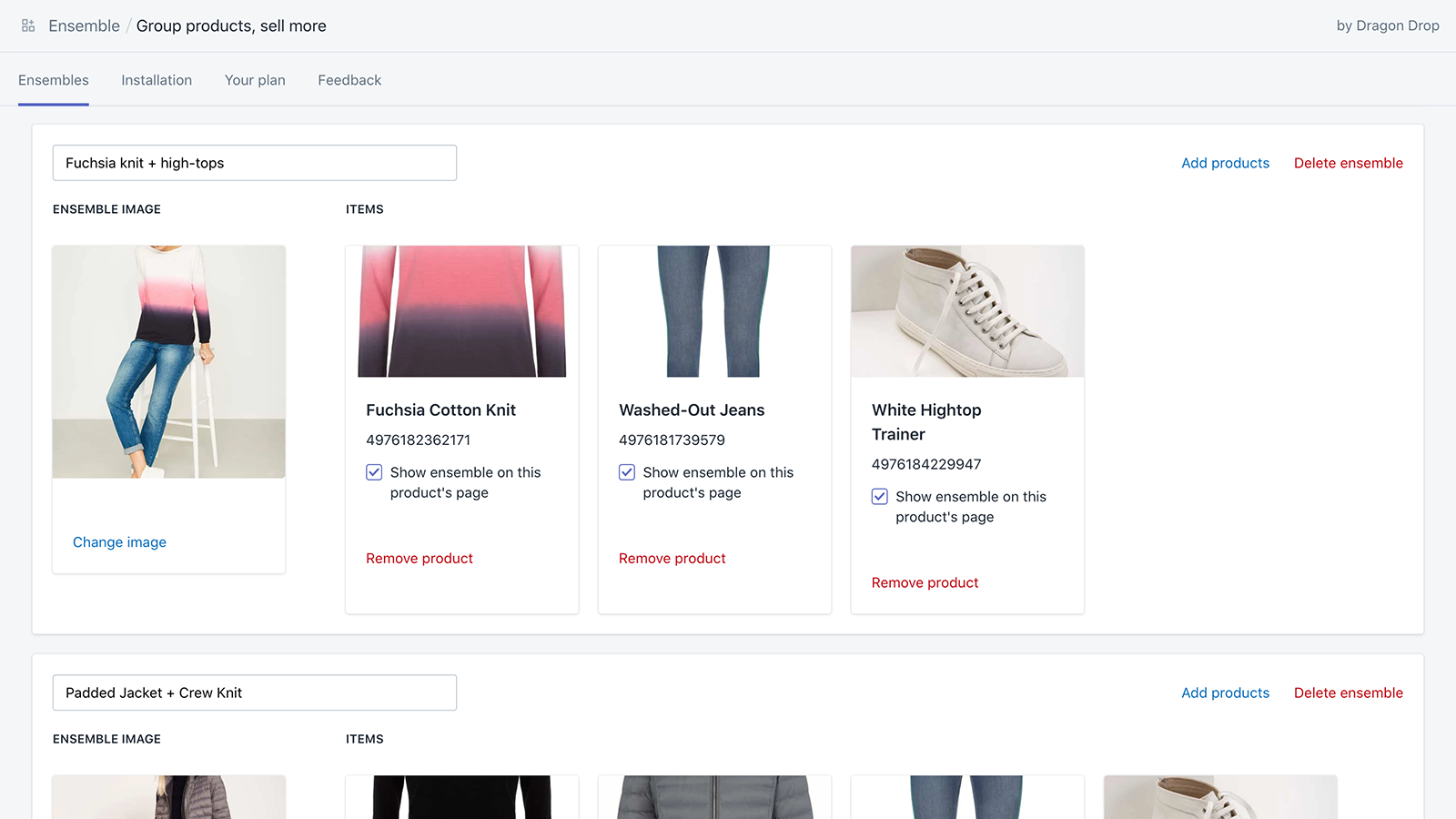 Simple and clear display of your ensembles in your shop admin