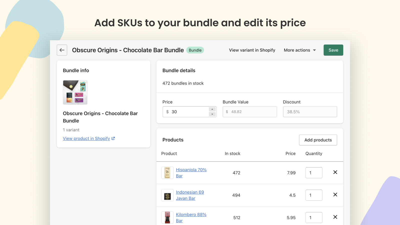Add SKUs to your bundle and edit its price