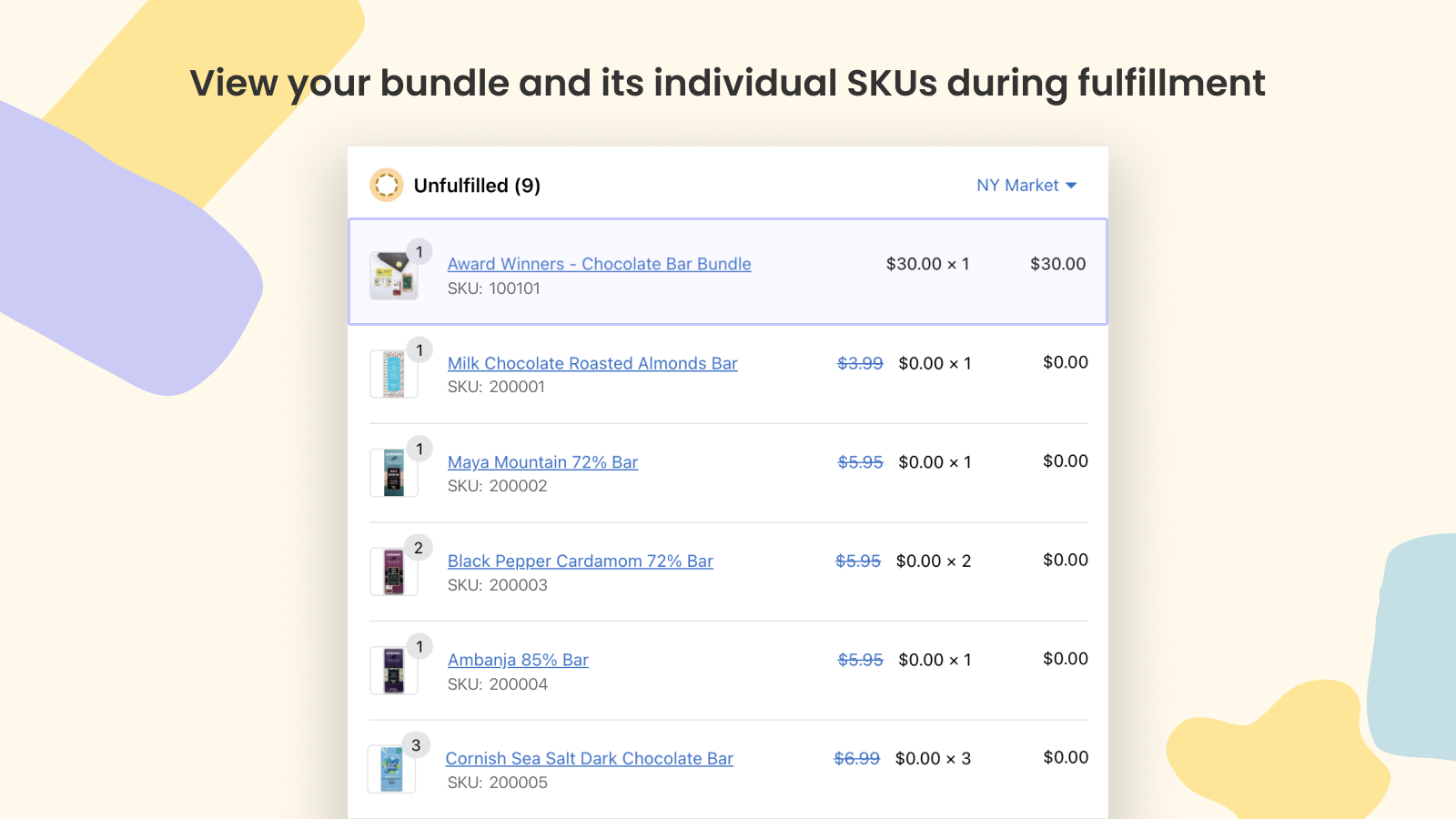 View your bundle and its individual SKUs during fulfillment