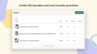 Create SKU bundles and track bundle quantities