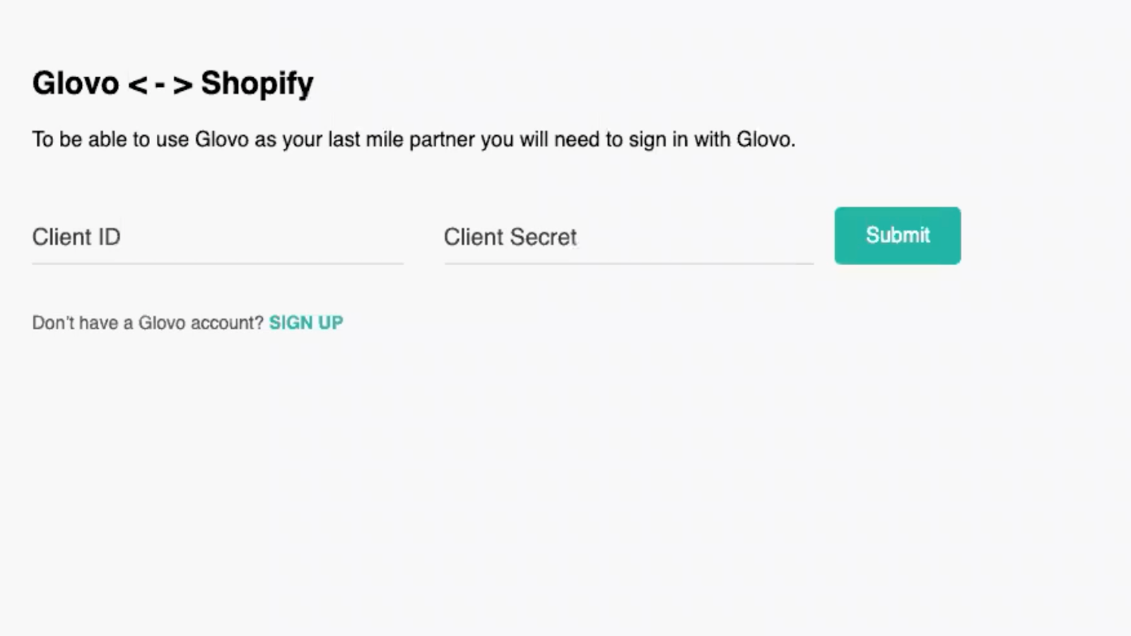 Home page to insert credentials an link to Glovo