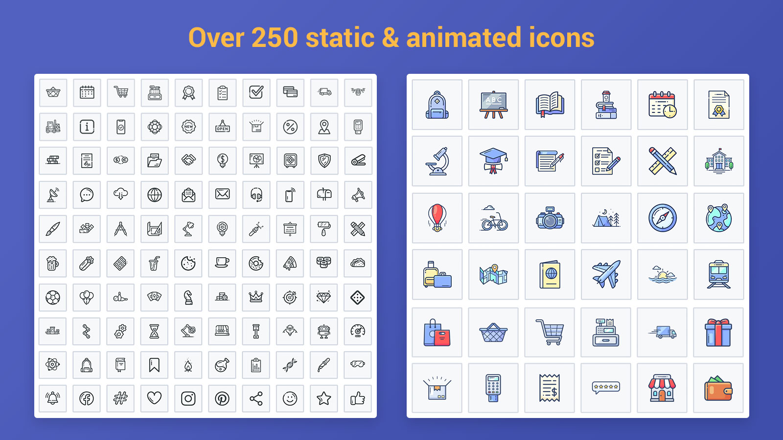 Static and animated icons
