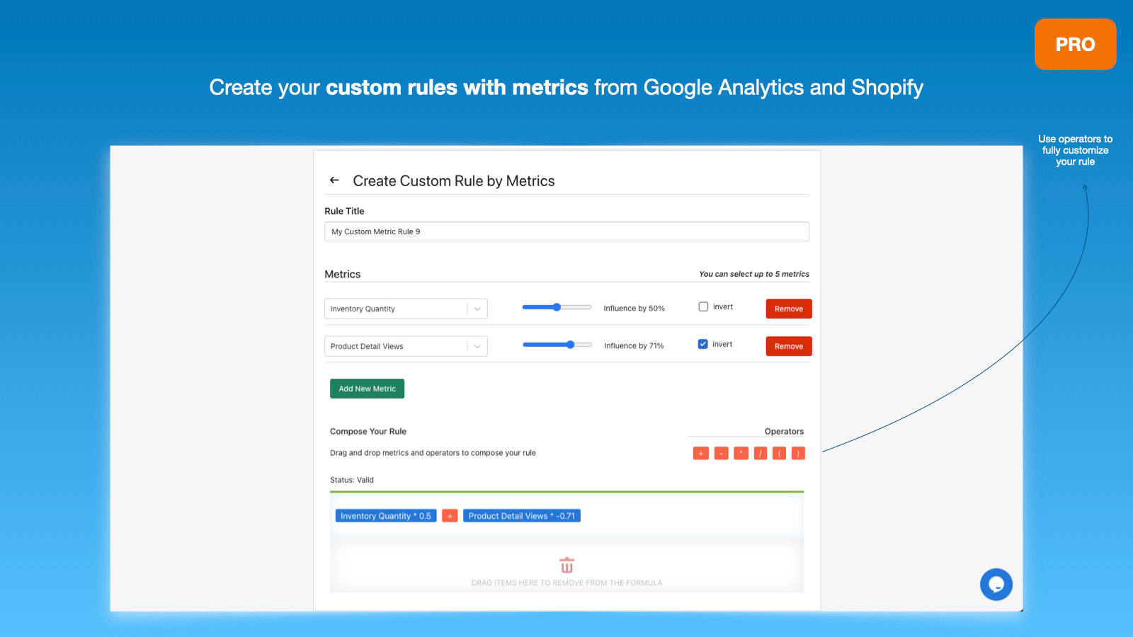Create your own sorting rules with metrics from GA and Shopify