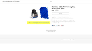 Manually placed Announcement Bar on the Product Page