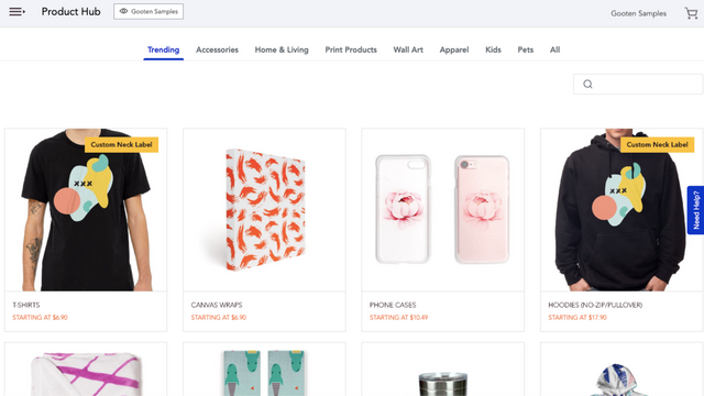 Select a product to design and add to your store
