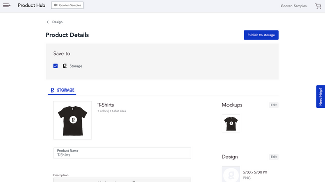Name your product and publish to your Shopify store or storage!